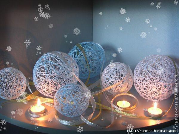 Новогодняя красота из ничего! (шары, цветы и снеговики)