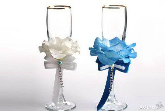 Бокалы свадебные своими руками из цветов 442