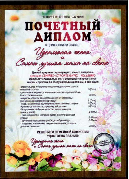 Дипломы для мамы Женский Мир 1 532