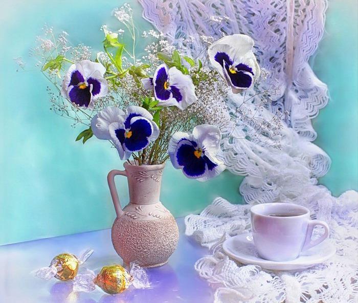 Анютины глазки открытки с добрым утром, день рождения ксении