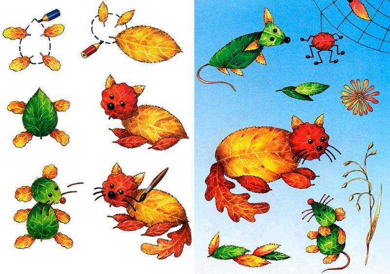 Поделки из листьев картинки для детей