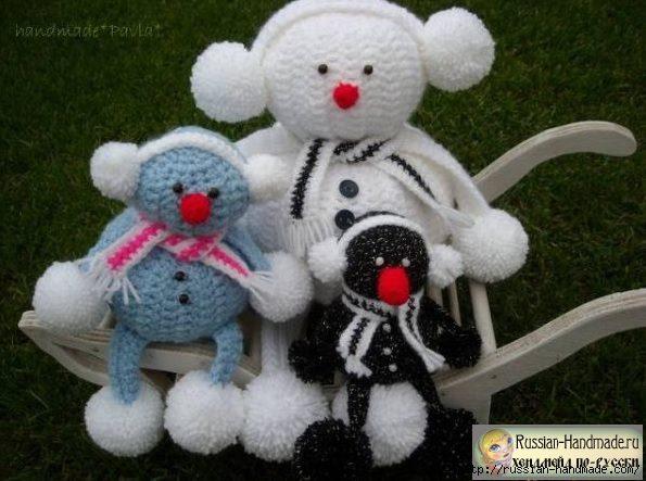 Забавные вязаные снеговички (фото мастер-класс)