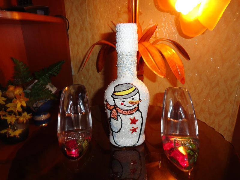 Бутылка «Снеговики». Morskay10