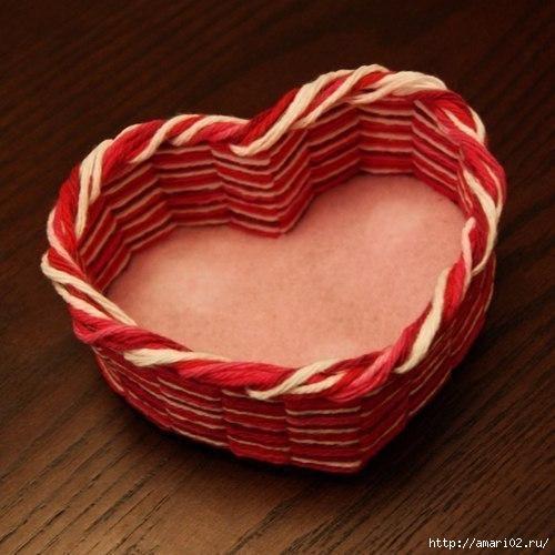 Корзинка-сердечко к Дню Влюбленных
