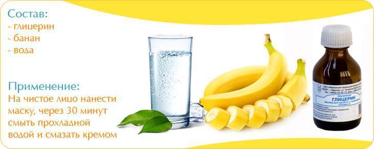 Глицерин для лица и банан в составе питательной маски