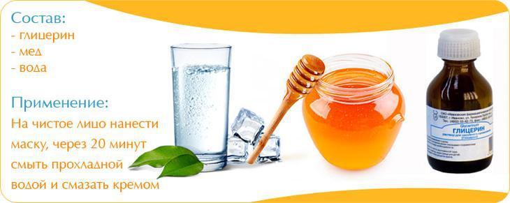 Глицерин для лица и мед в ухаживающей и очищающей маске