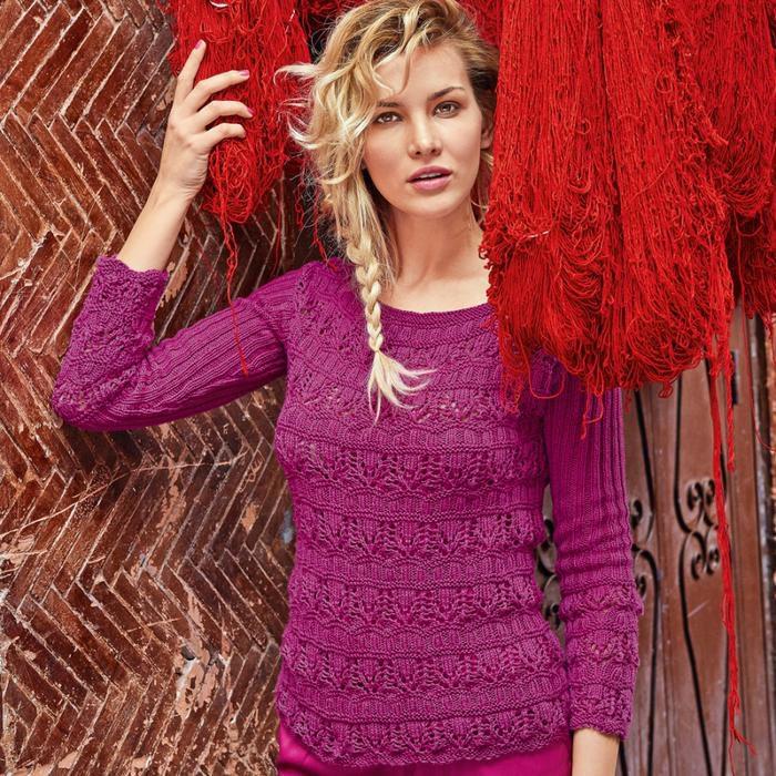 Вязаный ажурный джемпер и пуловер спицами