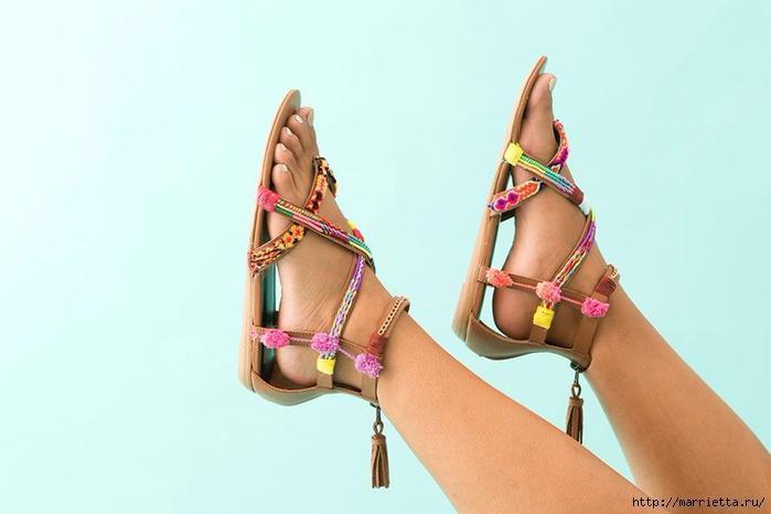 Обувь в стиле бохо - переделка босоножек своими руками