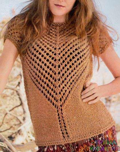 Пуловер с рукавами реглан и сетчатой кокеткой