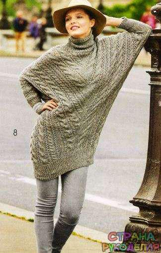 Удлиненный пуловер «летучая мышь»