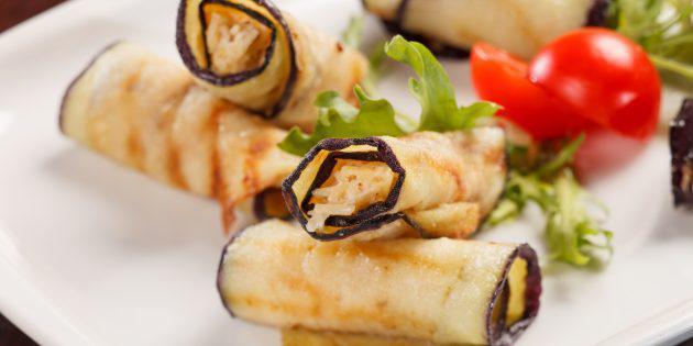 Баклажановые рулетики с сыром, чесноком и грецким орехом